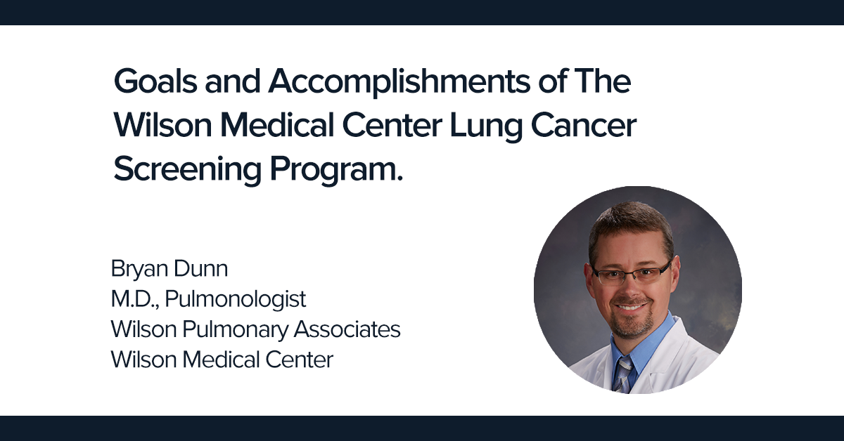 Goals and Accomplishments of The Wilson Medical Center Lung Cancer Screening Program.